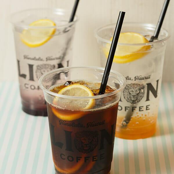 「アイスレモンコーヒー」と「マンゴーレモンソーダ」と「ラズベリーレモンソーダ」