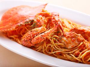 渡り蟹のトマトソース スパゲティ