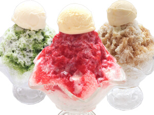 かき氷 3種類【抹茶ミルク金時・イチゴミルク・ほうじ茶ミルク】